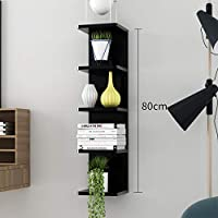 XIAOMEI 4-5-6壁掛けラックパーティションの装飾フレーム クリエイティブウォールシェルフ (色 : 黒, サイズ さいず : 80cm)