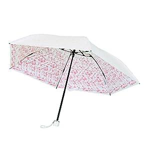 プレミアム ホワイト 折りたたみ傘 手開き 遮光 遮熱 日傘/晴雨兼用傘 リエール 全3色 ピンク 6本骨 50cm UVカット 99%以上 軽量 コンパクト 3935PK