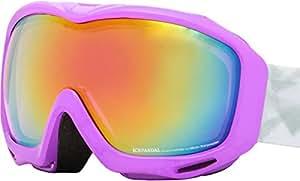 ICEPARDAL(アイスパーダル) 全12色 ダブル レンズ レディース スノーボード ゴーグル Revoミラー IBP-672 PL_RD_WT スキー スノー用 スノーゴーグル かわいい