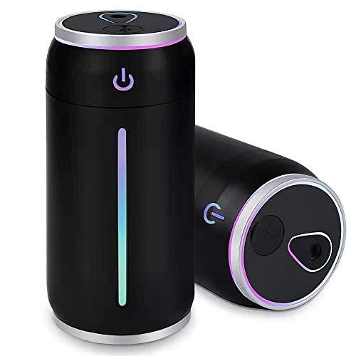 加湿器 卓上 USB ペットボトル 超音波式 小型 大霧量 220ml 12時間加湿 28dB静かに潤い 交換用の給水芯4本付 USBランプ USB扇風機付属 (ブラック)