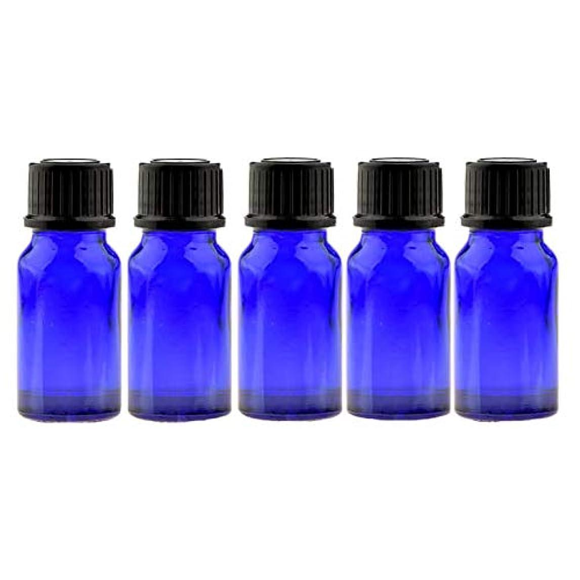 掻く怖がらせる縫う遮光ビン 10ml(ブルー) 5本セット 黒キャップ&ヴァーティカルドロッパー