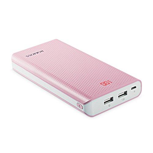 モバイルバッテリー 大容量 20000mAh ROMOSS 急速充電 2ポート 携帯充電器 LED残量表示 iPhone Android対応 pink Sense6