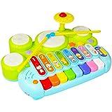Paraizo 6種類の楽器が楽しめる ドラム 木琴 ピアノ トランペット ギター 鉄琴 子供用 キーボード もぐらたたき 遊びいっぱい 多機能楽器 音楽おもちゃ プレゼント