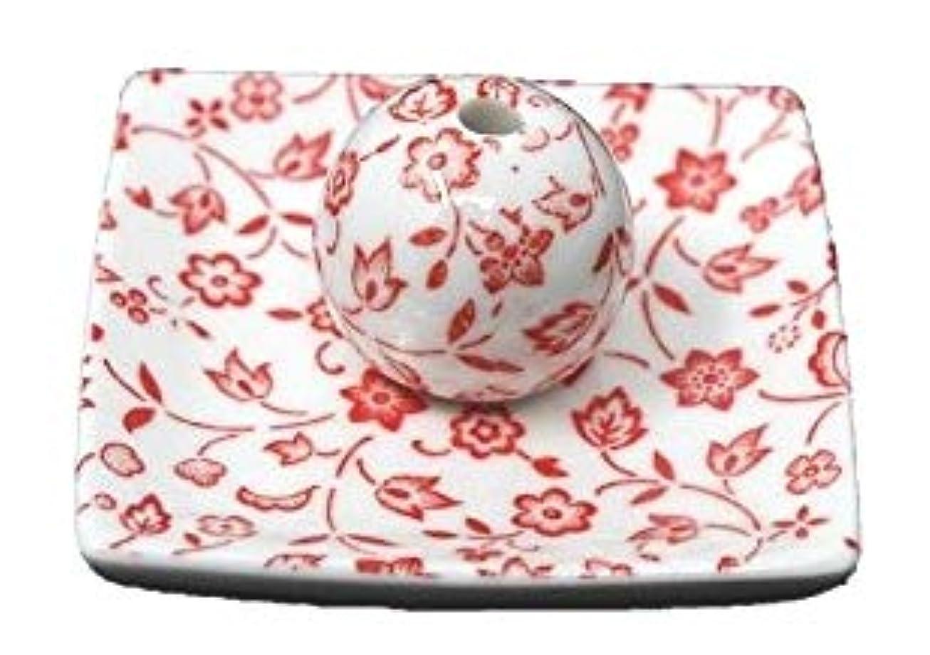 眠り獲物カニ赤小花 小角皿 日本製 美濃焼 お香立て お香たて 陶器 製造 直売品 レモングラス