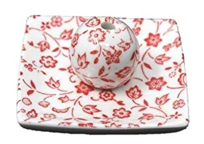 音節先生運営赤小花 小角皿 日本製 美濃焼 お香立て お香たて 陶器 製造 直売品 レモングラス