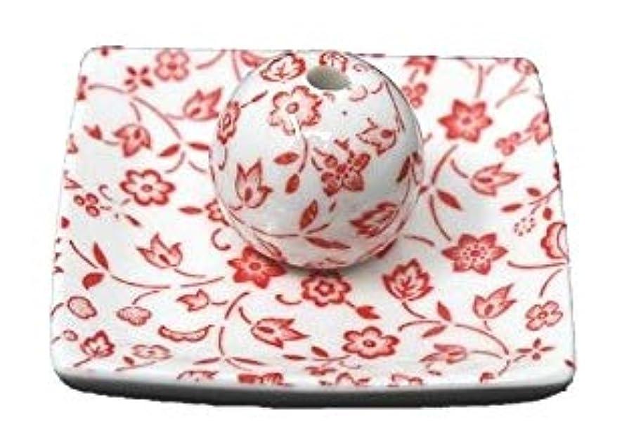名誉ヒープ意気込み赤小花 小角皿 日本製 美濃焼 お香立て お香たて 陶器 製造 直売品 レモングラス