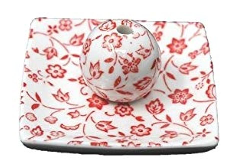 コールド協定推定する赤小花 小角皿 日本製 美濃焼 お香立て お香たて 陶器 製造 直売品 レモングラス