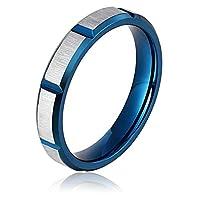 Ianlex ステンレス 長方形 格子 ブルー メンズ 指輪 クリスマス プレゼント 日本サイズ:17