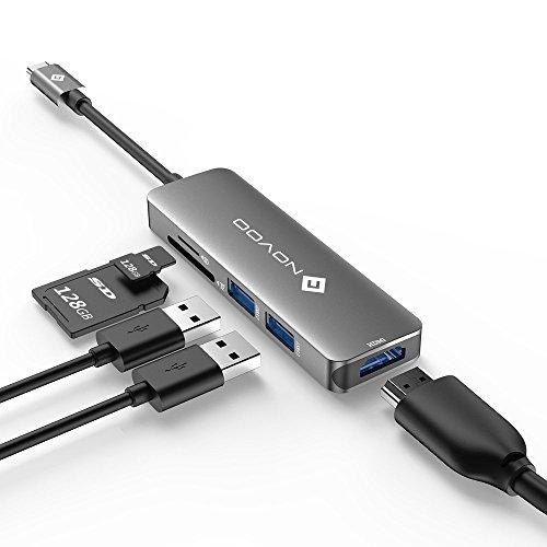 USB ハブ USB-C usb3.0ポートアダプターNOVOO Micro SD/usb type c ハブ SDカードリーダー USB HDMI USB3.0...
