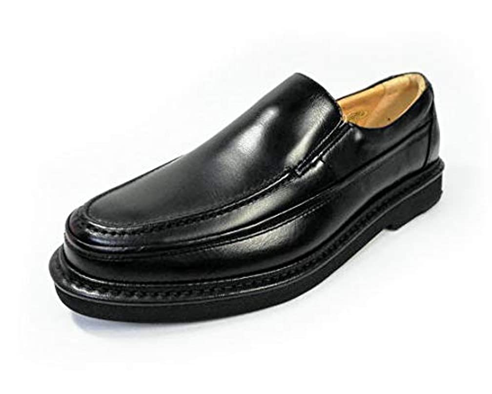 準備ができて静的ポークRinescante Valentiano 本革 ヴァンプスリッポン 軽量ビジネスシューズ ワイズ 4E(EEEE)黒【メンズ革靴?紳士靴】