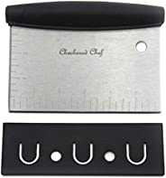Dough Scraper and Chopper by Checkered Chef. Multi Purpose - Pastry Cutter, Icing Smoother, Bench Scraper. Stainless Steel w