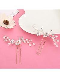 FUHAO 髪飾り 花 ヘアピン アクセサリー フラワーティアラ ウェディング 花嫁 パール  結婚式 4点セット