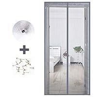 ANUO ドアスクリーン マジックテープ付きマグネットカーテン、ハンズフリーネットカーテン フレンチドア磁気スクリーンドア パティオドア用Gray_60x79in/150x200cm