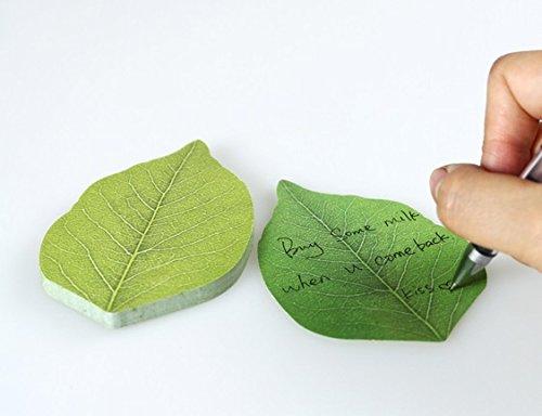 まとめて 5冊 セット かわいい 葉っぱ ソックリ 本物 みたい 粘着 メモ 帳 付箋 貼り付け 可能
