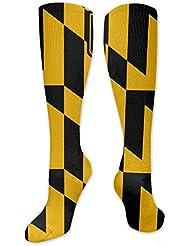 Qrriy男性女性の男の子の女の子ボルチモアメリーランドUSA旗3 D圧縮ソックス