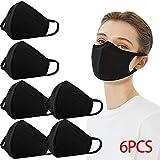 100% Cotton Anti-dust PM2.5 Filter Pocket Mouth Face Protect Bandana Balaclavas, 2-layer Unisex Reusable Fashion Washable (Pack 6-Black)