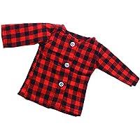 Dovewill  18インチアメリカ人形適用 かわいい 装飾 長袖 Tシャツ スカート レッド