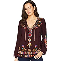 Johnny Was Women's Tie Neck Embroidered Blouse