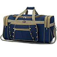 "Travel Duffel Bag 65L Foldable Weekender Overnight Bag 26"" Lightweight Oxford Cloth Extra Large Gym Luggage Duffel Water & Tear Resistant for Men & Women (Blue Gold)"