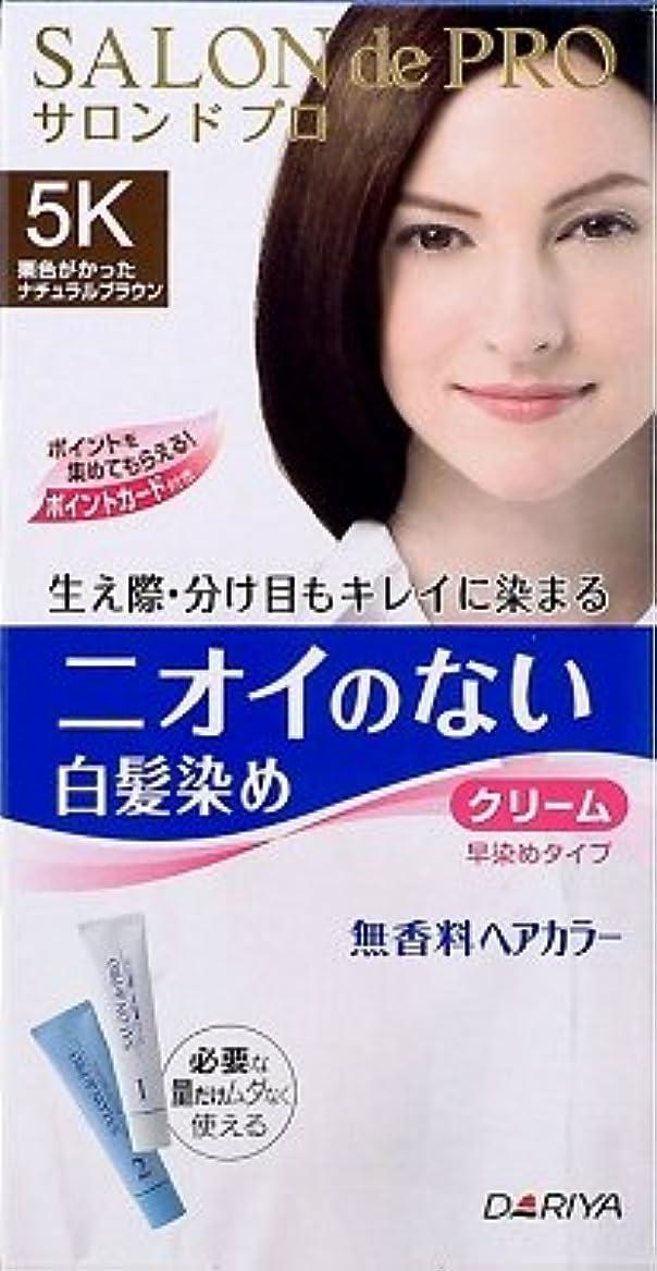 接続添加剤レタッチサロンドプロ 無香料ヘアカラー 早染めクリーム(白髪用)5K<栗色がかったナチュラルブラウン> × 10個セット