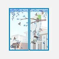 窓 スクリーン 蚊帳 マジックテープ付き,網戸カーテン マグネット付き簡単網戸 マグネットカーテン -N-80×100センチメートル(31×39インチ)
