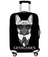 Rayiisuy スーツケースカバー 伸縮素材 かわいい 防水 傷 汚れ 保護 旅行 海外 出張 キズから保護 トランクカバー キャリーカバー (L, いぬ)