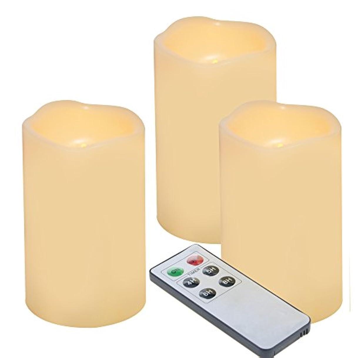 蒸発枯れるマカダムOutdoor Indoor Flameless LED Battery Operated Candles with Remote and Timer by iZAN Long Lasting Waterproof Realistic Flickering Electric Pillar Candles 3-Pack Size-3