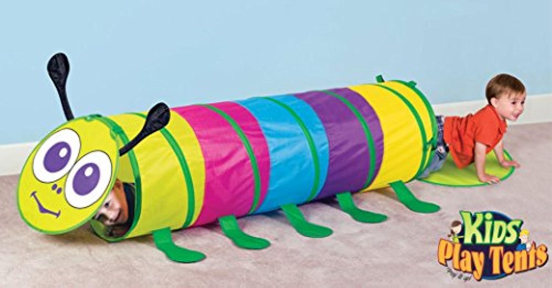 Kids Pop Up Caterpillar再生テントトンネルforインドア&アウトドア使用
