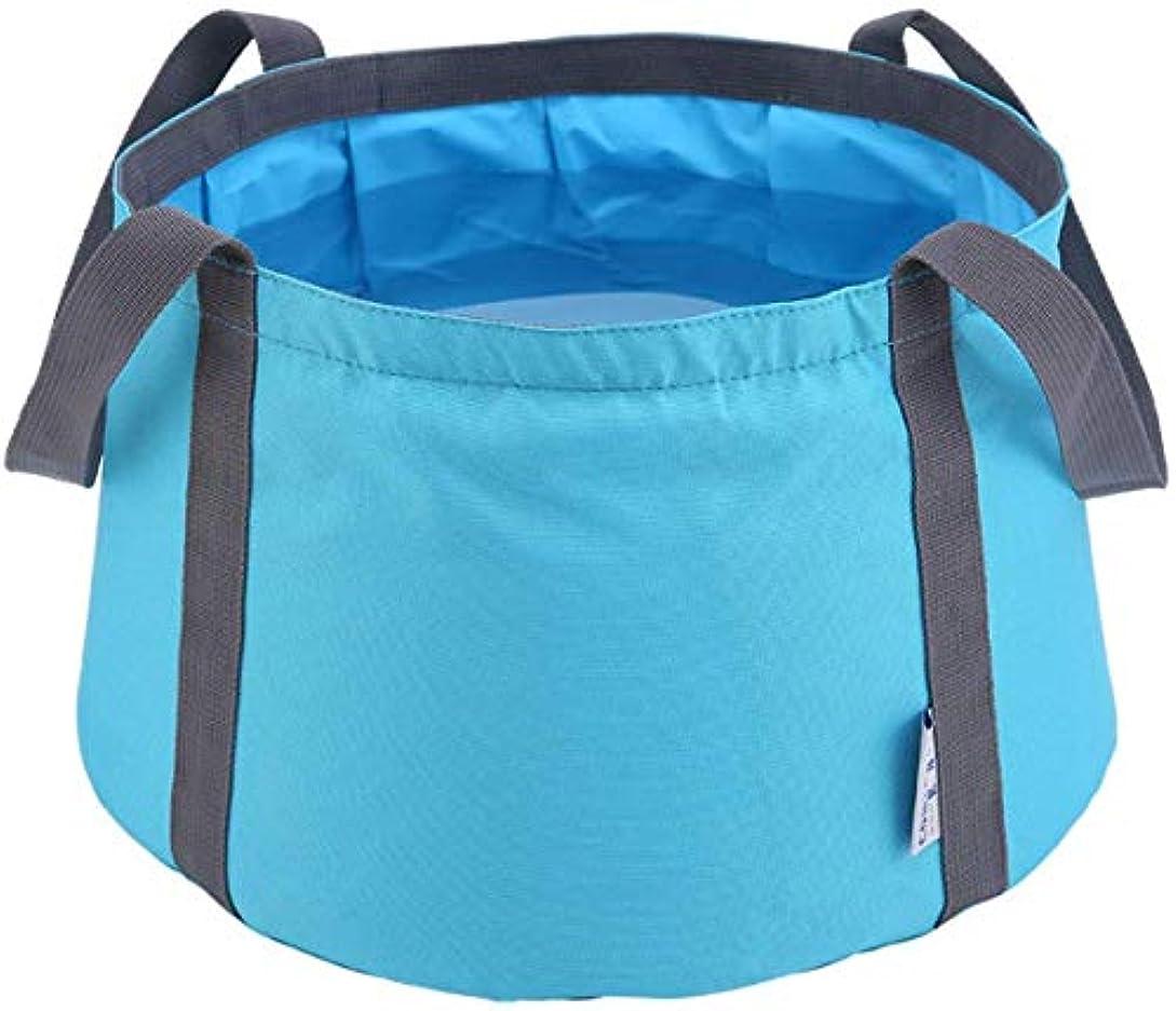 トリム反対する固有のHUAJIE 10Lトラベルアウトドアキャンプハイキング収納袋多機能折りたたみバケツ釣り洗濯ブルーオレンジグリーンと折りたたみ洗面台(色:ブルー) (Color : Blue)
