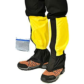 GTR-1000 ゲイター 登山用品 登山スパッツ 登山ゲイター ロングスパッツ 防水 泥除け 雨よけ 雪対策 トレッキング アウトドア バイク 草刈り 男女兼用 (イエロー(ロング))