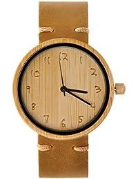 ZLYC木製腕時計 ウッドウォッチ 竹の木ケース 本革バンド おしゃれ かわいい ファッション 男女兼用