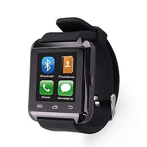 Flylinktech Bluetooth スマート ウォッチ 1.44インチ 超薄型 多機能腕時計U8 Watch 健康 防水 タッチパネル 着信お知らせ/置き忘れ防止/歩数計/ストップウォッチ/高度計/アラーム時計/ブラック
