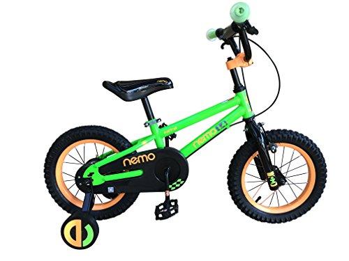HITS(ヒッツ) Nemo 子供用 自転車 フロントキャリパーブレーキ リア バンドブレーキ 児童用 バイク 14インチ 16インチ ハンドブレーキモデル 男の子にも女の子にもぴったり 3歳 4歳 5歳 6歳 7歳 8歳 9歳(グリーン,14インチ)