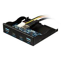 BlueFire USB 3.0 2ポート+ USB 3.1タイプC 2ポート3.5インチフロントパネルUSBハブ [20Pinコネクタ&2ftアダプタケーブル] メタルフロントパネル USBハブ