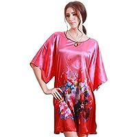 610ab845c1 BaronHong Women Sleep Shirt Satin Silk Pajama Plus Size Short Sleeve  Nightshirt