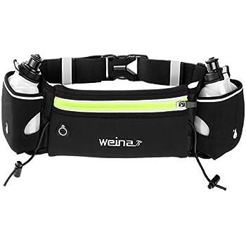 WEINAS ランニングバッグ ランニングポーチ 軽量 体にぴったり 揺れにくい 二つ水筒付き 運動最適 装着感抜群 マラソン ウェストポーチ ウェストバッグ 水筒二つ 防水 6インチスマホ対応 iPhone X/8P/7P サイクリング ウォーキングバッグ ジョギングポーチ 山登り ハイキング 夜間 旅行 レジャーなど活用 装着感抜群 男女兼用