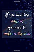 "If you want the rainbow, you need to embrace the rain: Inspirational and motivating quotes writing notebook. Back cover with inspirational quote ""Life isn't about waiting for the storm to pass. It's about learning how to dance in the rain."""