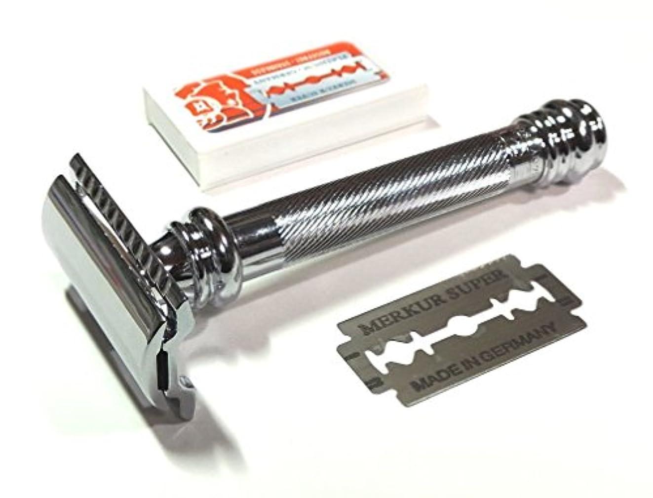 折下位遅れメルクールMERKUR(独)髭剃り(ひげそり)両刃ホルダー38C エレガントクロム 替刃10+1枚付