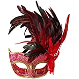 Nanle ハロウィンマスクハーフフェザーマスクベニスプリンセスマスク美容レース仮面ライダーコスプレ (色 : Style A red)