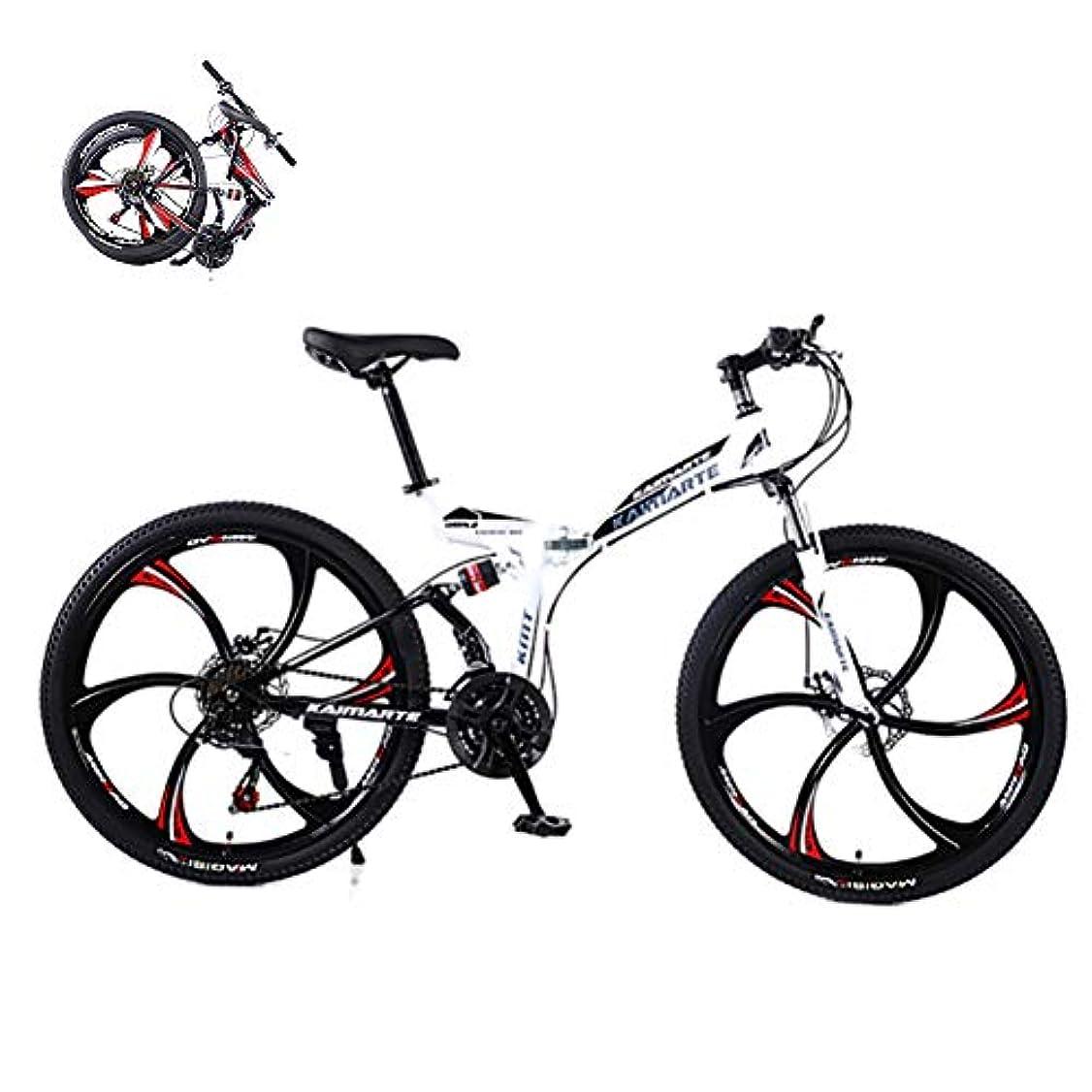 くびれた朝食を食べる均等に折りたたみ式大人用マウンテンバイク 27速ギアデュアルディスクブレーキマウンテン自転車高炭素鋼フルサスペンションフレームアウトロードバイク