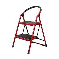 ZHAOSHUNLI はしご屋内エスカレーター家族折りたたみ階段ホームはしごはしご肥厚ステップスツール (Color : Red, Size : Two-step ladder)