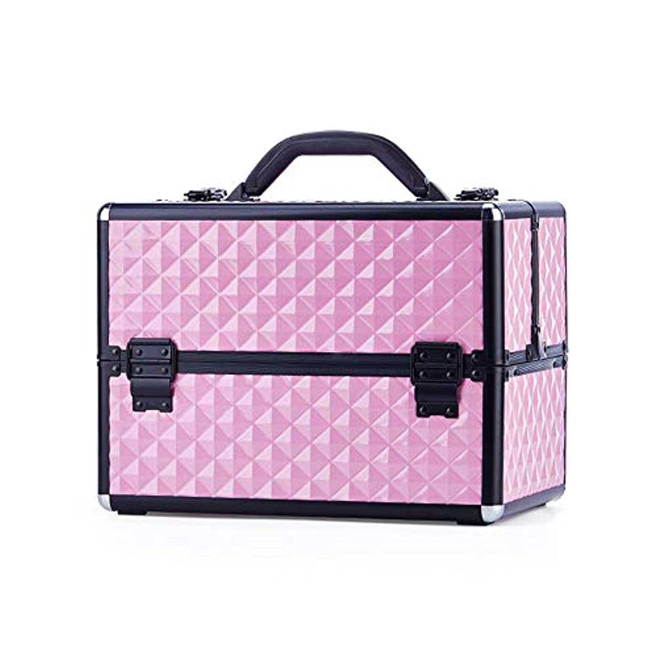 アルプスドリンク後世特大スペース収納ビューティーボックス 美の構造のためそしてジッパーおよび折る皿が付いている女の子の女性旅行そして毎日の貯蔵のための高容量の携帯用化粧品袋 化粧品化粧台 (色 : ピンク)