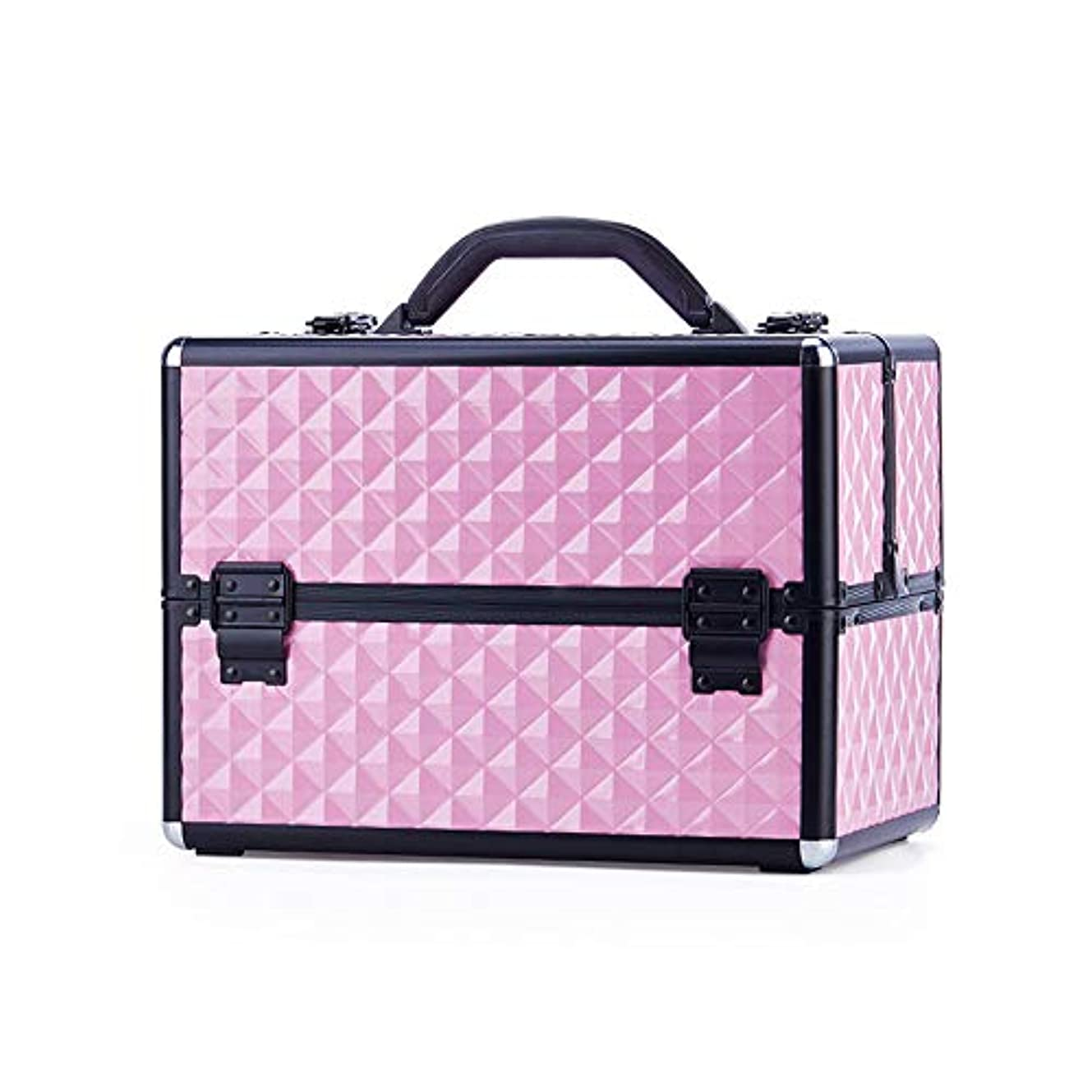 奨励マットレス祖母特大スペース収納ビューティーボックス 美の構造のためそしてジッパーおよび折る皿が付いている女の子の女性旅行そして毎日の貯蔵のための高容量の携帯用化粧品袋 化粧品化粧台 (色 : ピンク)