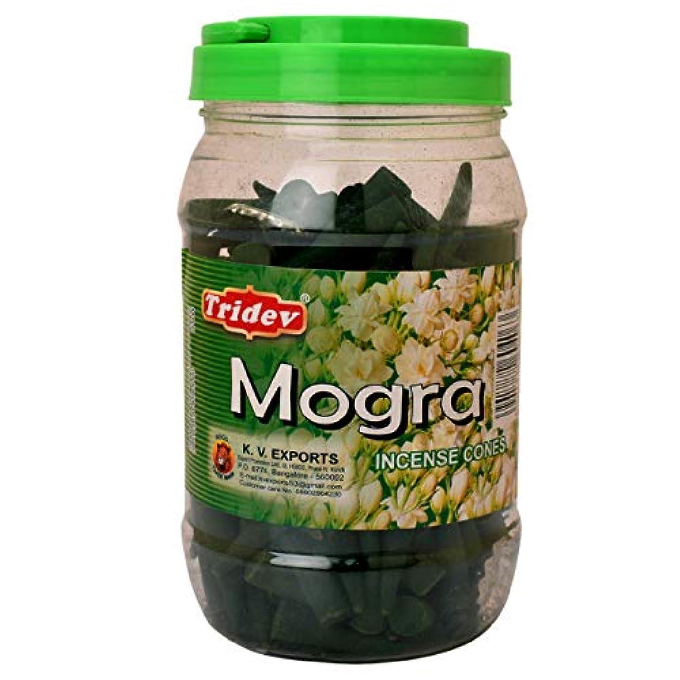 弱まる胚ガジュマルTridev Mogra フレグランス コーン型お香 500グラム 瓶 輸出品質