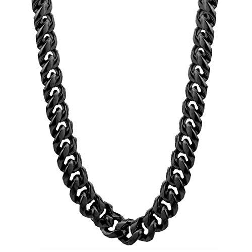 ネックレスチェーン メンズ 4面カット喜平ブラックチェーン (太さ:7.0mm) 90cm サージカルステンレス316L シンプル 首輪 首飾り ペンダント キーチェーン ウォレットチェーン 鎖