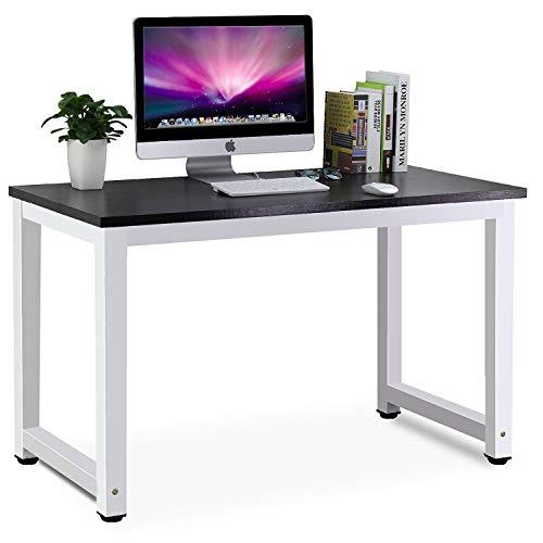 パソコンデスク PCデスク ワークデスク ダイニングテーブル (ブラックとホワイト)