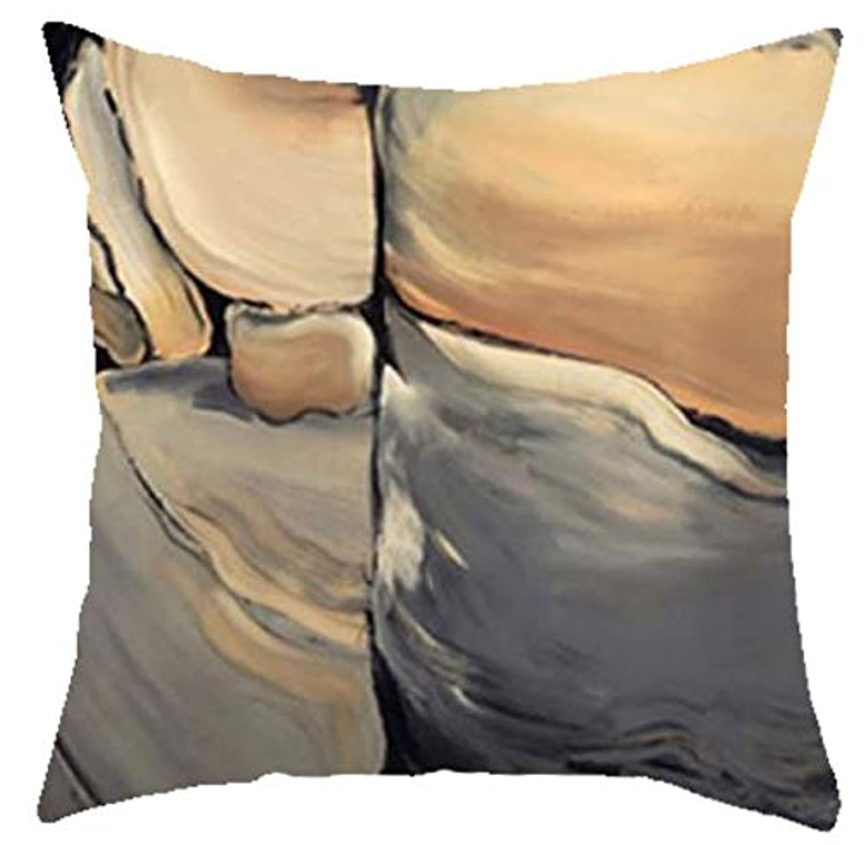 屋内でバイアスオーバードローLIFE 新入荷幾何学模様スロー枕クリエイティブ抽象大理石クッション手塗りの山の森リビングルームのソファ クッション 椅子