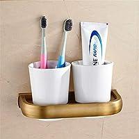浴室用品クラシックタオルスタンド フルコンチネンタルアンティーク真鍮タオルラックタオルラックタオルリングトイレブラシアンティーク装飾品セットバスケット (色 : Toothbrush Cup)