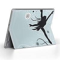 Surface go 専用スキンシール サーフェス go ノートブック ノートパソコン カバー ケース フィルム ステッカー アクセサリー 保護 ラブリー スケート イラスト 冬 004670