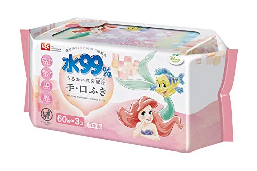 レックディズニー プリンセス アリエル 水99%おでかけ手・口ふき 1パック(60枚×3個) レック